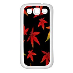 Colorful Autumn Leaves On Black Background Samsung Galaxy S3 Back Case (White)