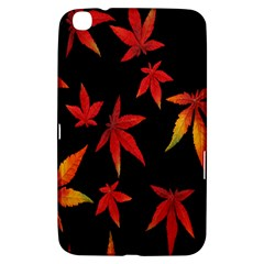 Colorful Autumn Leaves On Black Background Samsung Galaxy Tab 3 (8 ) T3100 Hardshell Case