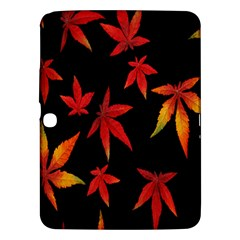 Colorful Autumn Leaves On Black Background Samsung Galaxy Tab 3 (10.1 ) P5200 Hardshell Case