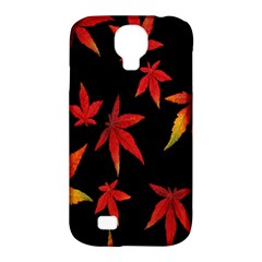 Colorful Autumn Leaves On Black Background Samsung Galaxy S4 Classic Hardshell Case (pc+silicone)