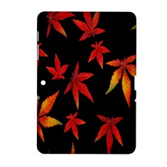 Colorful Autumn Leaves On Black Background Samsung Galaxy Tab 2 (10 1 ) P5100 Hardshell Case
