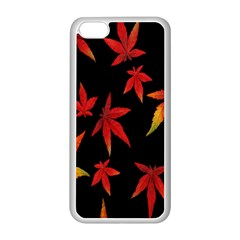 Colorful Autumn Leaves On Black Background Apple Iphone 5c Seamless Case (white)