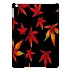 Colorful Autumn Leaves On Black Background Ipad Air Hardshell Cases