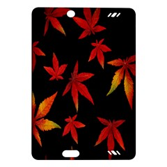 Colorful Autumn Leaves On Black Background Amazon Kindle Fire Hd (2013) Hardshell Case