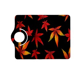 Colorful Autumn Leaves On Black Background Kindle Fire Hd (2013) Flip 360 Case