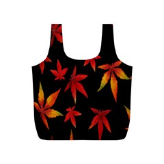 Colorful Autumn Leaves On Black Background Full Print Recycle Bags (S)