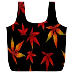 Colorful Autumn Leaves On Black Background Full Print Recycle Bags (L)