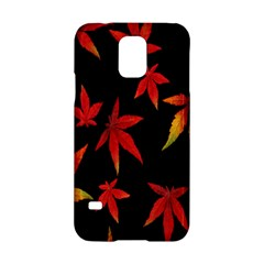 Colorful Autumn Leaves On Black Background Samsung Galaxy S5 Hardshell Case