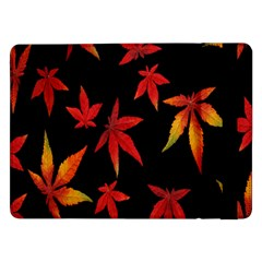 Colorful Autumn Leaves On Black Background Samsung Galaxy Tab Pro 12 2  Flip Case