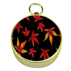 Colorful Autumn Leaves On Black Background Gold Compasses
