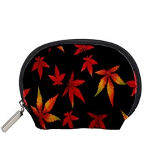 Colorful Autumn Leaves On Black Background Accessory Pouches (small)