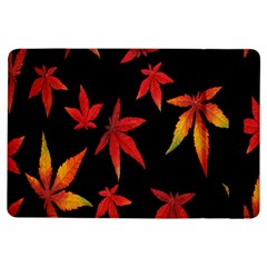 Colorful Autumn Leaves On Black Background Ipad Air Flip