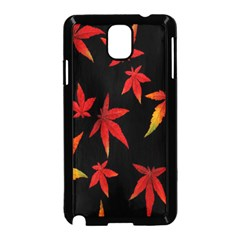 Colorful Autumn Leaves On Black Background Samsung Galaxy Note 3 Neo Hardshell Case (black)