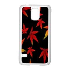 Colorful Autumn Leaves On Black Background Samsung Galaxy S5 Case (white)