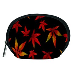 Colorful Autumn Leaves On Black Background Accessory Pouches (medium)
