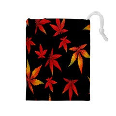 Colorful Autumn Leaves On Black Background Drawstring Pouches (large)