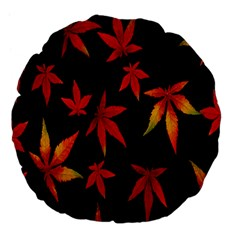 Colorful Autumn Leaves On Black Background Large 18  Premium Flano Round Cushions