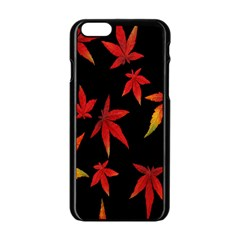 Colorful Autumn Leaves On Black Background Apple Iphone 6/6s Black Enamel Case