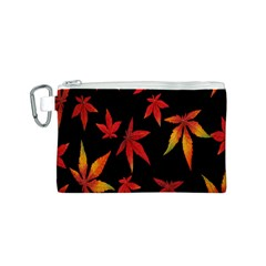 Colorful Autumn Leaves On Black Background Canvas Cosmetic Bag (S)