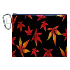 Colorful Autumn Leaves On Black Background Canvas Cosmetic Bag (xxl)