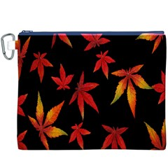 Colorful Autumn Leaves On Black Background Canvas Cosmetic Bag (XXXL)