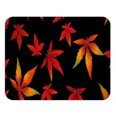 Colorful Autumn Leaves On Black Background Double Sided Flano Blanket (Large)