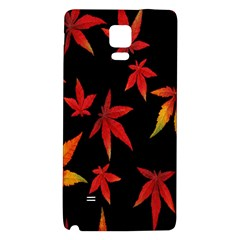Colorful Autumn Leaves On Black Background Galaxy Note 4 Back Case