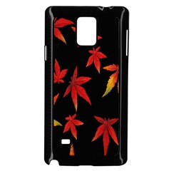 Colorful Autumn Leaves On Black Background Samsung Galaxy Note 4 Case (black)