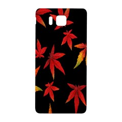 Colorful Autumn Leaves On Black Background Samsung Galaxy Alpha Hardshell Back Case