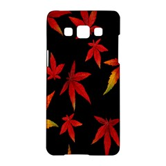 Colorful Autumn Leaves On Black Background Samsung Galaxy A5 Hardshell Case