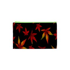 Colorful Autumn Leaves On Black Background Cosmetic Bag (xs)
