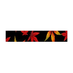 Colorful Autumn Leaves On Black Background Flano Scarf (Mini)