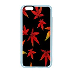 Colorful Autumn Leaves On Black Background Apple Seamless iPhone 6/6S Case (Color)