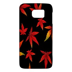 Colorful Autumn Leaves On Black Background Galaxy S6