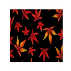 Colorful Autumn Leaves On Black Background Small Satin Scarf (Square)