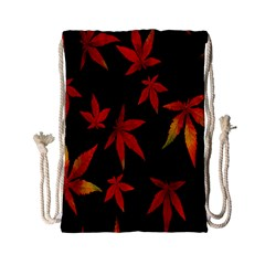 Colorful Autumn Leaves On Black Background Drawstring Bag (small)