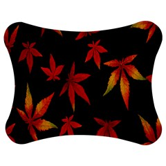 Colorful Autumn Leaves On Black Background Jigsaw Puzzle Photo Stand (bow)