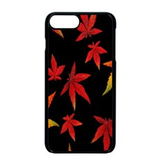 Colorful Autumn Leaves On Black Background Apple Iphone 7 Plus Seamless Case (black)