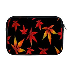 Colorful Autumn Leaves On Black Background Apple MacBook Pro 17  Zipper Case