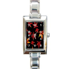 Colorful Autumn Leaves On Black Background Rectangle Italian Charm Watch