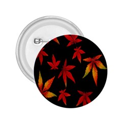 Colorful Autumn Leaves On Black Background 2.25  Buttons