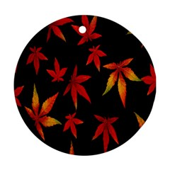 Colorful Autumn Leaves On Black Background Ornament (round)