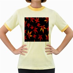 Colorful Autumn Leaves On Black Background Women s Fitted Ringer T Shirts