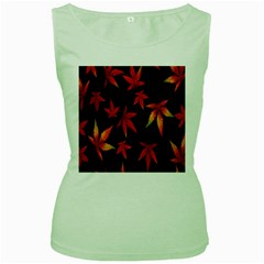 Colorful Autumn Leaves On Black Background Women s Green Tank Top