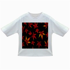 Colorful Autumn Leaves On Black Background Infant/Toddler T-Shirts