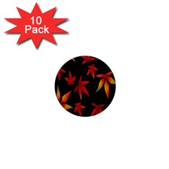 Colorful Autumn Leaves On Black Background 1  Mini Buttons (10 Pack)