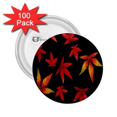 Colorful Autumn Leaves On Black Background 2.25  Buttons (100 pack)