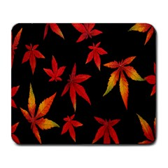Colorful Autumn Leaves On Black Background Large Mousepads