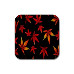 Colorful Autumn Leaves On Black Background Rubber Square Coaster (4 Pack)