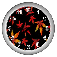 Colorful Autumn Leaves On Black Background Wall Clocks (Silver)